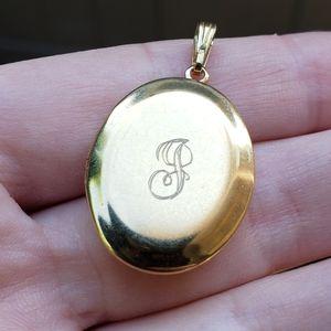 Vintage 60's Engraved Gold Oval Locket